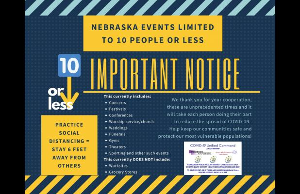 Nebraska events and gatherings limited to 10 people or less